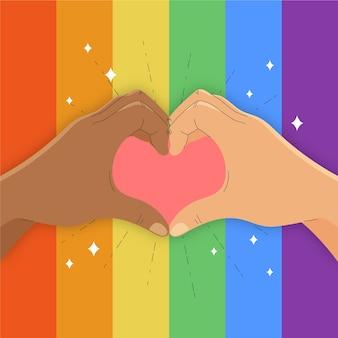Dia do orgulho de mãos e coração