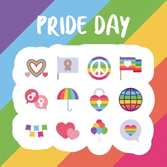 Dia do orgulho e conjunto de ícones de estilo lgtbi