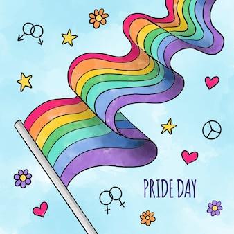 Dia do orgulho mão desenhada estilo bandeira