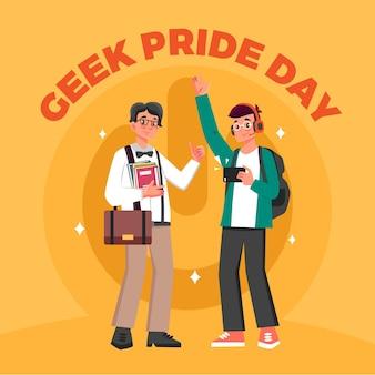 Dia do orgulho nerd com adolescente e homem