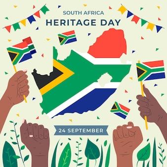 Dia do património com mapa e bandeira