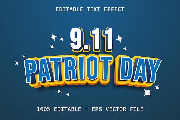 Dia do patriota com efeito de texto editável em estilo desenho animado