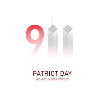 Dia do patriota, nunca esqueceremos. torres. 11 de setembro. bandeira dos eua. ilustração vetorial