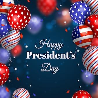 Dia do presidente com balões coloridos realistas