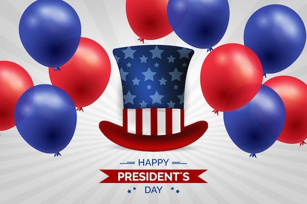 Dia do presidente com balões e chapéu realistas