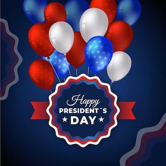 Dia do presidente com balões realistas e saudação