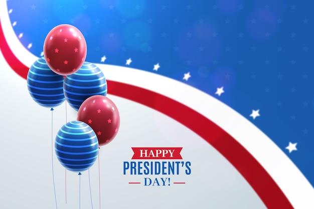Dia do presidente com balões realistas