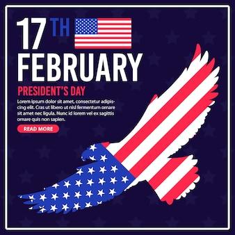 Dia do presidente com bandeira e águia