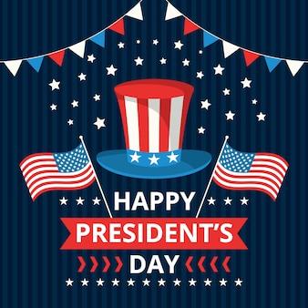 Dia do presidente com chapéu e bandeiras