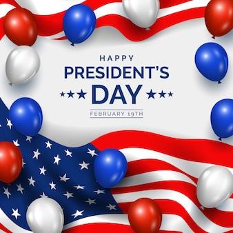 Dia do presidente com estilo realista de balões
