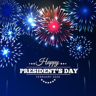 Dia do presidente com fogos de artifício no céu