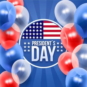 Dia do presidente com fundo realista balões