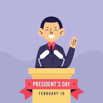 Dia do presidente com o homem como candidato