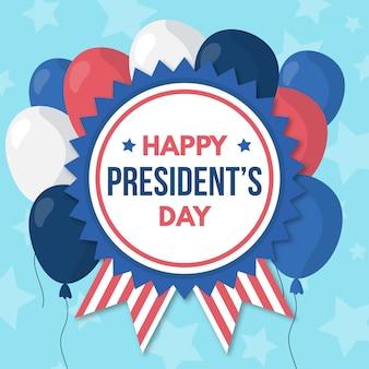 Dia do presidente com saudação e balões