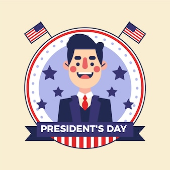Dia do presidente de design plano ilustrado