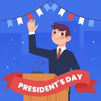Dia do presidente desenhado à mão