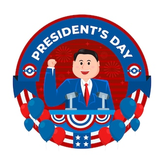 Dia do presidente do flat design