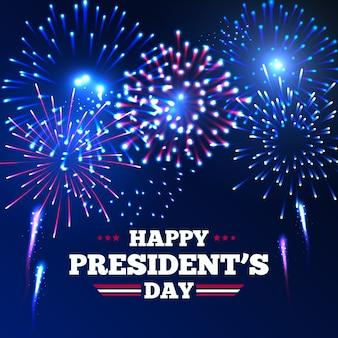 Dia do presidente e festa americana de fogos de artifício