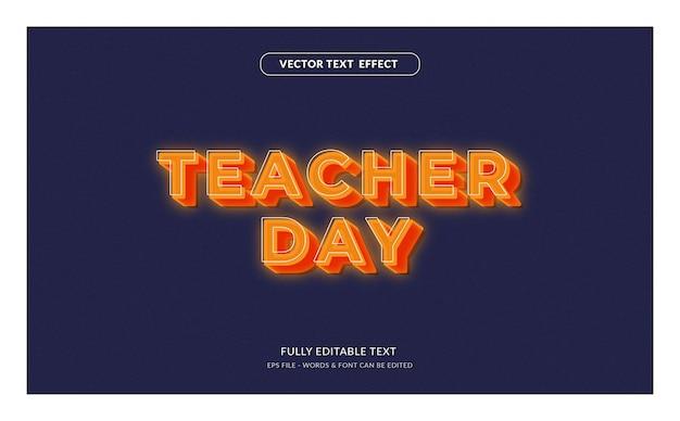 Dia do professor com efeito de texto editável de estilo moderno