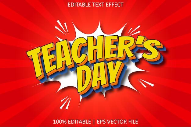 Dia do professor com efeito de texto editável em estilo cômico
