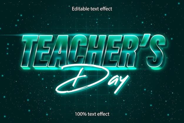 Dia do professor com efeito de texto editável em estilo retro