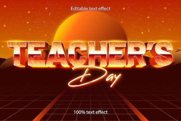 Dia do professor estilo retro com efeito de texto editável