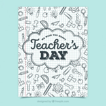 Dia do professor saudação com doodles