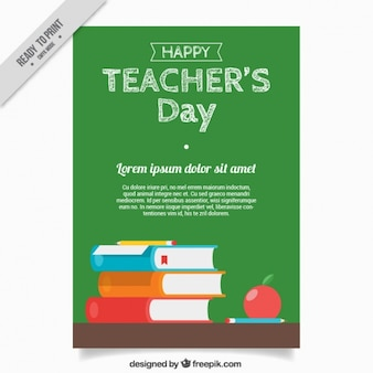 Dia do professor saudação com quadro-negro e livros