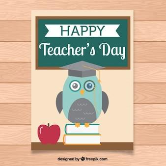 Dia do professor saudação com uma coruja