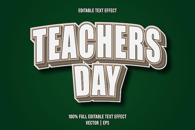 Dia do professor, texto editável com efeito de 3 dimensões em relevo estilo cartoon