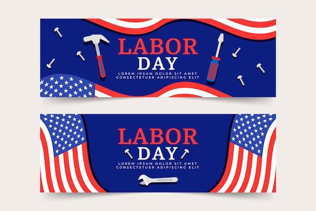 Dia do trabalho banners design de embalagem