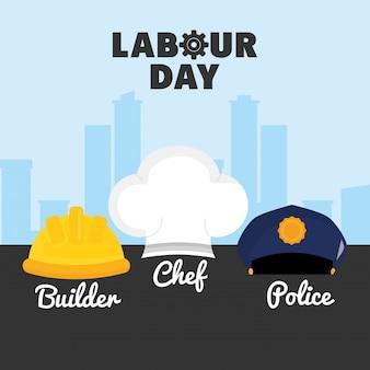 Dia do trabalho. conjunto de uniformes de trabalhadores de chapéus