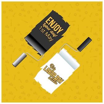 Dia do trabalho feliz pincéis creativos da tipografia e da pintura em um fundo amarelo
