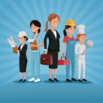 Dia do trabalho grupo mulheres trabalho profissão vários