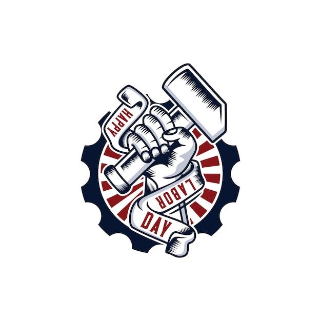 Dia do trabalho logotipo fundo projeto vector