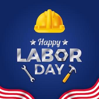 Dia do trabalho, modelo de cartão de dia dos trabalhadores com capacete amarelo de segurança e bandeira de listras com fundo azul