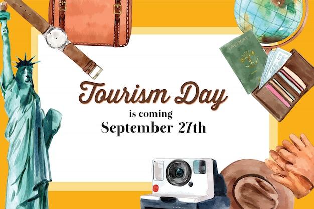 Dia do turismo, design de moldura com a estátua da liberdade, roupas, glob
