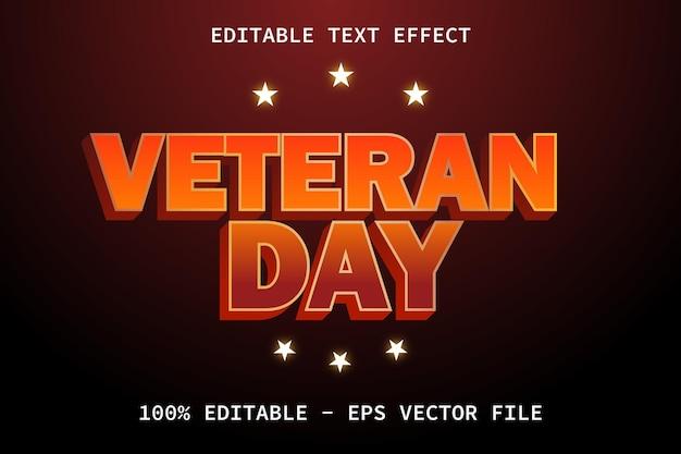 Dia do veterano com efeito de texto editável em estilo luxuoso