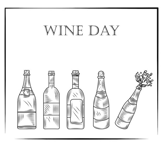 Dia do vinho, conjunto de garrafas de vinho em estilo vintage gravado