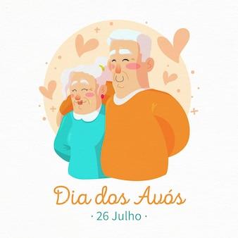 Dia dos avós com avós mais velhos