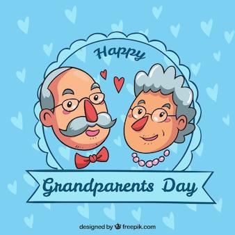 Dia dos avós desenhado à mão dia do fundo do crachá