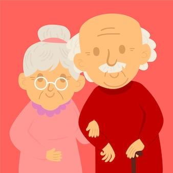 Dia dos avós desenhar ilustração