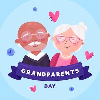 Dia dos avós nacionais de design plano com corações