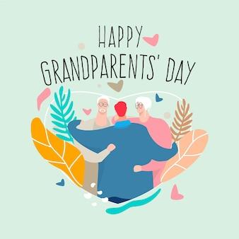 Dia dos avós nacional plana na ilustração dos eua