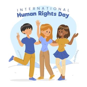 Dia dos direitos humanos desenhado à mão