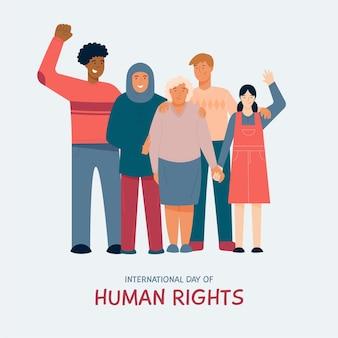 Dia dos direitos humanos do design plano