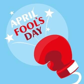 Dia dos enganados com luva de boxe na primavera