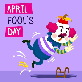 Dia dos enganados com palhaço engraçado