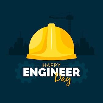 Dia dos engenheiros com capacete de segurança