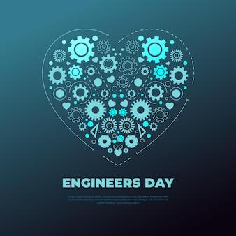 Dia dos engenheiros com coração e engrenagens